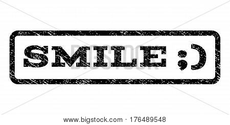 Smile watermark stamp. Text caption inside rounded rectangle frame with grunge design style. Rubber seal stamp with dust texture. Vector black ink imprint on a white background.