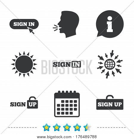 Sign in icons. Login with arrow, hand pointer symbols. Website or App navigation signs. Sign up locker. Information, go to web and calendar icons. Sun and loud speak symbol. Vector