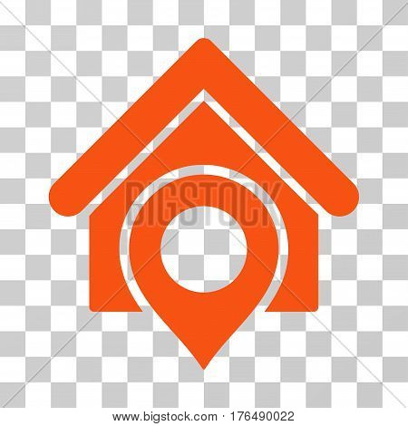 Realty Location icon. Vector illustration style is flat iconic symbol, orange color, transparent background. Designed for web and software interfaces.