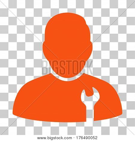Serviceman icon. Vector illustration style is flat iconic symbol, orange color, transparent background. Designed for web and software interfaces.