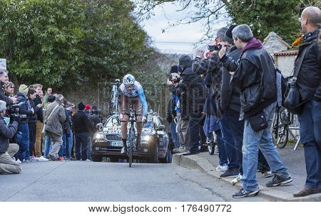 Conflans-Sainte-HonorineFrance-March 62016: The Luxembourger cyclist Ben Gastauer of AG2R La Mondiale Team riding during the prologue stage of Paris-Nice 2016.