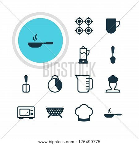 Vector Illustration Of 12 Kitchenware Icons. Editable Pack Of Chef Hat, Tea Cup, Cook And Other Elements.