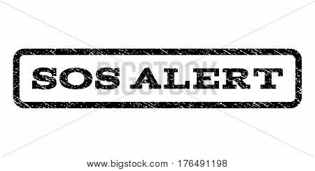 Sos Alert watermark stamp. Text caption inside rounded rectangle frame with grunge design style. Rubber seal stamp with unclean texture. Vector black ink imprint on a white background.