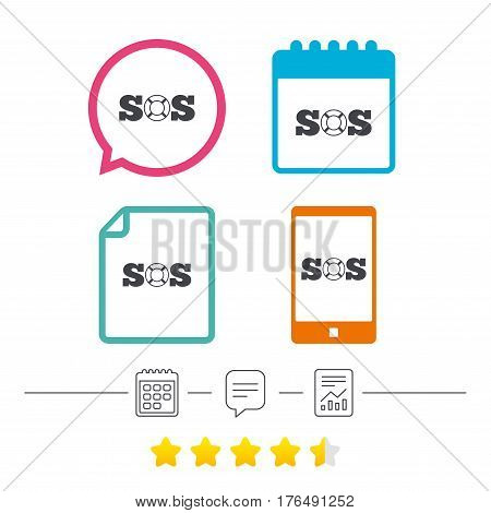 SOS sign icon. Lifebuoy symbol. Calendar, chat speech bubble and report linear icons. Star vote ranking. Vector