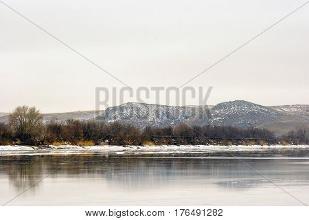 Mountains under the name Two sisters background of the Donets River in winter