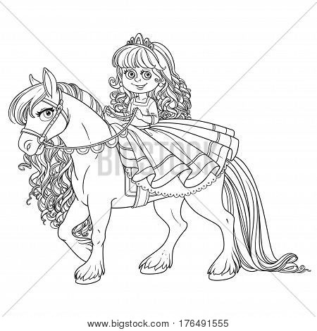 Cute Little Princess Riding On A White Horse Outlined Picture Fo