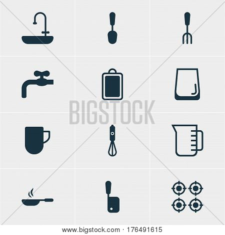 Vector Illustration Of 12 Cooking Icons. Editable Pack Of Furnace, Glass Cup, Carafe And Other Elements.
