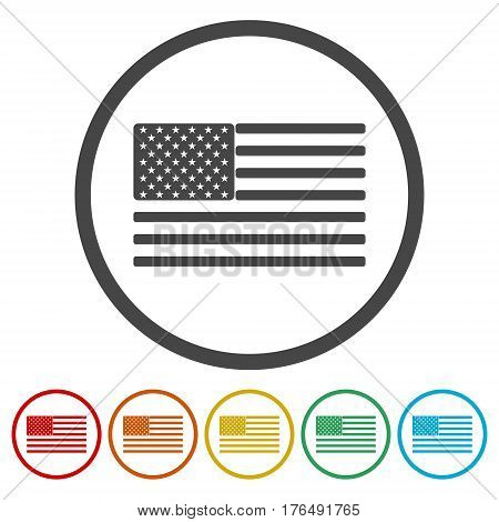 The USA flag in circle on white background
