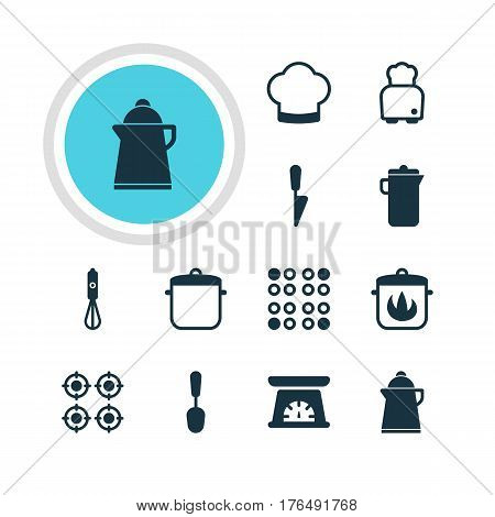 Vector Illustration Of 12 Restaurant Icons. Editable Pack Of Soup Pan, Handmixer, Tablespoon Elements.