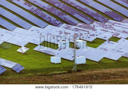 Solar power plant near Cesky Dub on an aerial photograph
