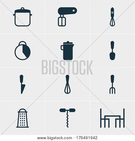 Vector Illustration Of 12 Restaurant Icons. Editable Pack Of Fork, Soup Pan, Timekeeper And Other Elements.