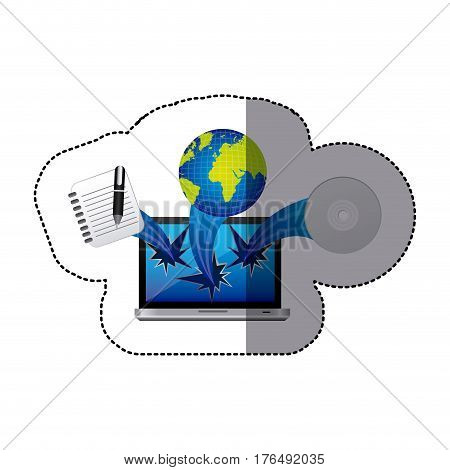 sticker colorful tech laptop broken with icons vector illustration