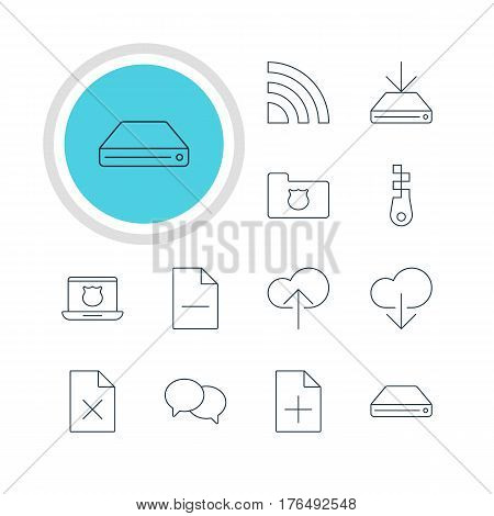 Vector Illustration Of 12 Internet Icons. Editable Pack Of Hard Drive Disk, Information Load, Privacy Doc And Other Elements.