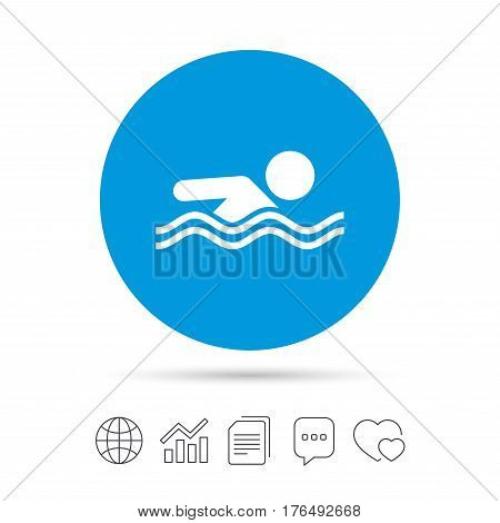 Swimming sign icon. Pool swim symbol. Sea wave. Copy files, chat speech bubble and chart web icons. Vector
