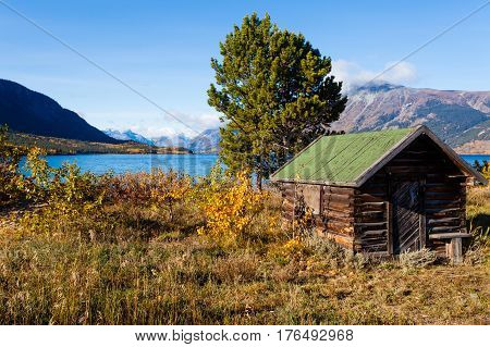 Log Shack On Lake Bennet Yukon Territory Yt Canada