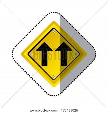sticker yellow diamond shape frame same direction arrow road traffic sign vector illustration