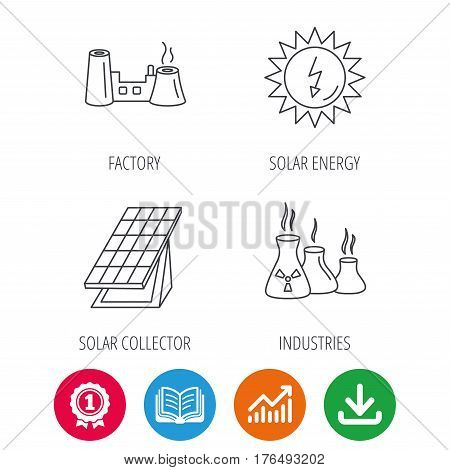 Solar collector energy, factory and industries icons. Solar energy linear signs. Award medal, growth chart and opened book web icons. Download arrow. Vector