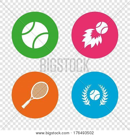 Tennis ball and racket icons. Fast fireball sign. Sport laurel wreath winner award symbol. Round buttons on transparent background. Vector