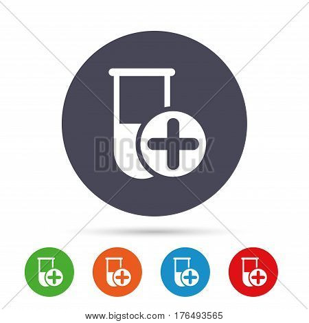 Medical test tube sign icon. Add new test with plus. Laboratory equipment symbol. Round colourful buttons with flat icons. Vector