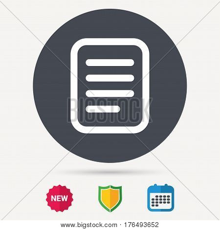 File icon. Text document page symbol. Calendar, shield protection and new tag signs. Colored flat web icons. Vector