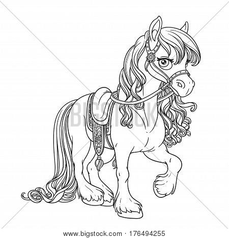 Beautiful Horse With Lush Mane Harnessed To A Saddle Outlined Pi