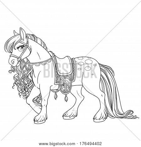 Cute Horse With Lush Mane Harnessed To A Saddle Outlined Picture