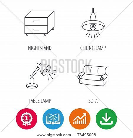 Sofa, table lamp and nightstand icons. Ceiling lamp linear sign. Award medal, growth chart and opened book web icons. Download arrow. Vector