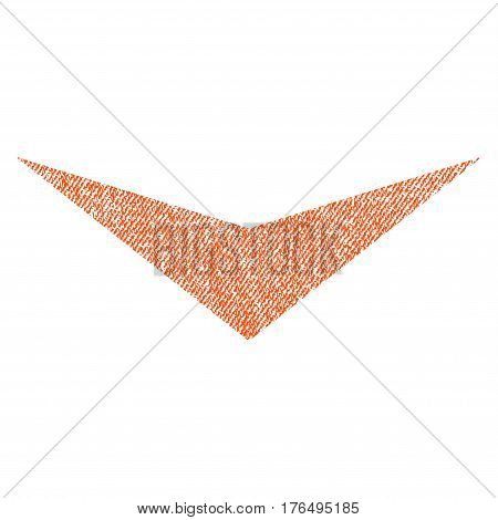 Arrowhead Down vector textured icon for overlay watermark stamps. Fabric orange vectorized texture. Symbol with scratched design. Rubber seal stamp with fiber textile structure.