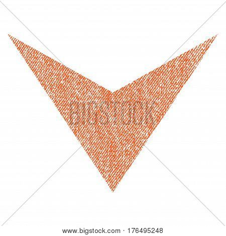 Arrowhead Down vector textured icon for overlay watermark stamps. Fabric orange vectorized texture. Symbol with dust design. Rubber seal stamp with fiber textile structure.