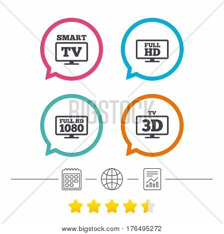 Smart TV mode icon. Widescreen symbol. Full hd 1080p resolution. 3D Television sign. Calendar, internet globe and report linear icons. Star vote ranking. Vector