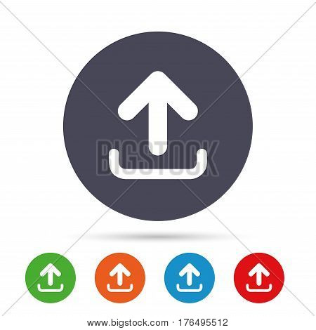 Upload sign icon. Load data symbol. Round colourful buttons with flat icons. Vector
