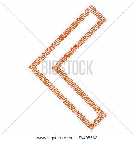 Arrowhead Left vector textured icon for overlay watermark stamps. Fabric orange vectorized texture. Symbol with dirty design. Rubber seal stamp with fiber textile structure.