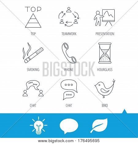 Teamwork, presentation and phone call icons. Chat speech bubble, hourglass and bird linear signs. Smoking, pyramid icons. Light bulb, speech bubble and leaf web icons. Vector