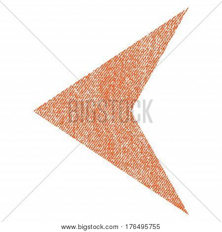 Arrowhead Left vector textured icon for overlay watermark stamps. Fabric orange vectorized texture. Symbol with unclean design. Rubber seal stamp with fiber textile structure.