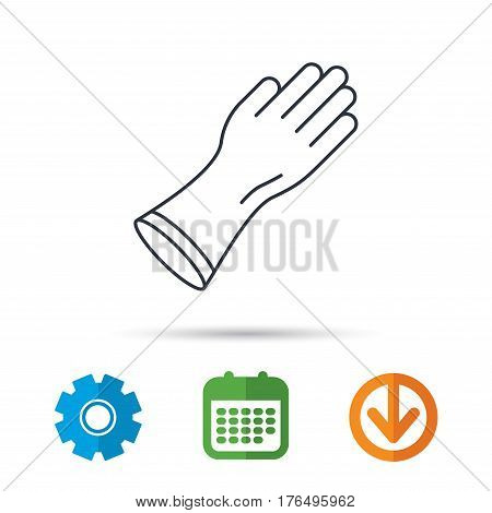 Rubber gloves icon. Latex hand protection sign. Housework cleaning equipment symbol. Calendar, cogwheel and download arrow signs. Colored flat web icons. Vector