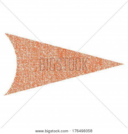 Arrowhead Right vector textured icon for overlay watermark stamps. Fabric orange vectorized texture. Symbol with dirty design. Rubber seal stamp with fiber textile structure.