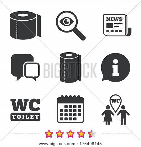 Toilet paper icons. Gents and ladies room signs. Paper towel or kitchen roll. Man and woman symbols. Newspaper, information and calendar icons. Investigate magnifier, chat symbol. Vector
