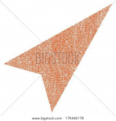 Arrowhead Right-Up vector textured icon for overlay watermark stamps. Fabric orange vectorized texture. Symbol with scratched design. Rubber seal stamp with fiber textile structure.