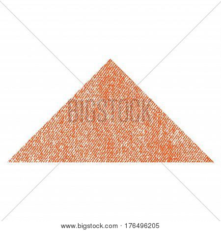 Arrowhead Up vector textured icon for overlay watermark stamps. Fabric orange vectorized texture. Symbol with scratched design. Rubber seal stamp with fiber textile structure.