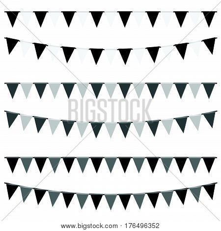 Party Flags Set In Black And White Color Illustration