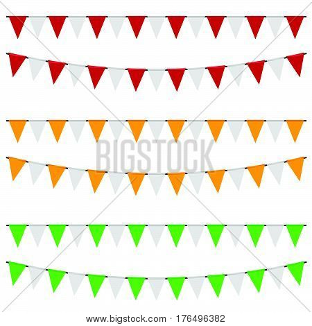 Party Flags Set In Color Illustration