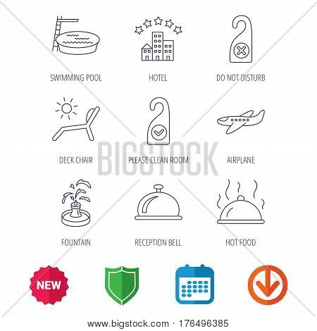 Hotel, swimming pool and beach deck chair icons. Reception bell, restaurant food and airplane linear signs. Do not disturb and clean room flat line icons. New tag, shield and calendar web icons