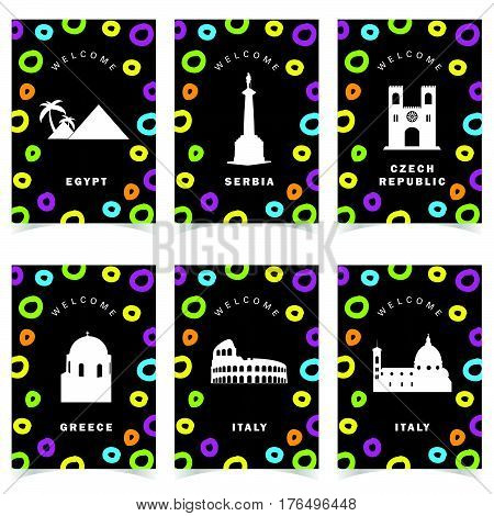 Poster With Famous Historic Monuments Paradise Color Set Illustration