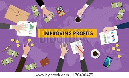 Illustration of improving profit discussion in a meeting with paperworks, folder document and money on top of table and world map as background vector