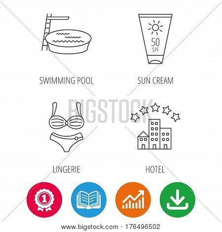Hotel, swimming pool and sun cream icons. Lingerie linear sign. Award medal, growth chart and opened book web icons. Download arrow. Vector