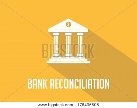 Bank reconciliation white text with bank office building illustration and orange background vector