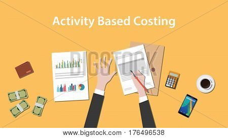 Activity based costing illustration with a man writing on paperwork with money, calculator and folder document on top of table vector
