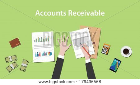Accounts receivable illustration with a man writing on paperwork with money, calculator and folder document on top of table vector
