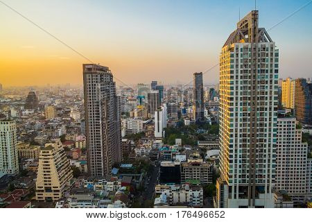 Sunset Twilight Cityscape Viewpoint Bangkok