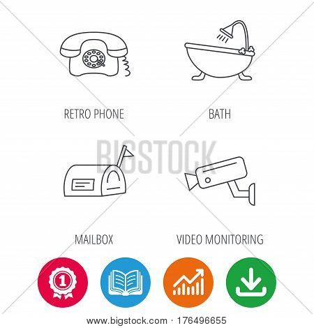 Retro phone, video camera and mailbox icons. Bath linear sign. Award medal, growth chart and opened book web icons. Download arrow. Vector